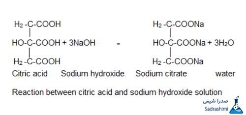 واکنش اسید سیتریک و سدیم هیدروکسید